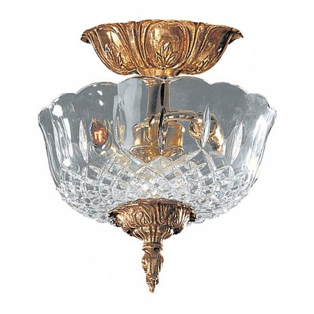 "Richmond Collection 2-Light 10"" Olde Brass Semi-Flush Mount with Lead Crystal 55-CT-OB"