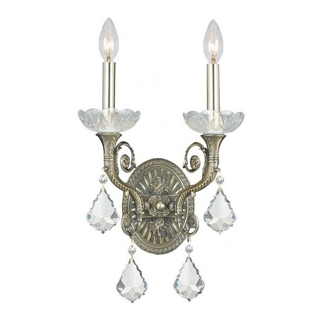 "Majestic Collection 2-Light 10"" Historic Brass Wall Sconce with Swarovski Spectra Crystal 1482-HB-CL-SAQ"