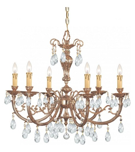 Crystorama Six Light Olde Brass Swarovski Spectra Glass Up Chandelier - 496-OB-CL-SAQ