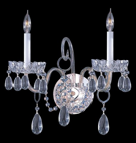 "Traditional Crystal Collection 2-Light 15"" Polished Chrome Wall Sconce with Hand Polished Crystal 1032-CH-CL-MWP"