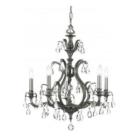 "Dawson Collection 5-Light 26"" Pewter Chandelier with Swarovski Elements Crystal 5565-PW-CL-S"