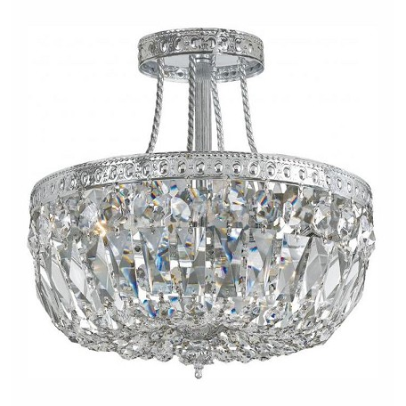 "Richmond Collection 3-Light 12"" Chrome Semi-Flush Mount with Swarovski Elements Crystal 119-12-CH-CL-S"