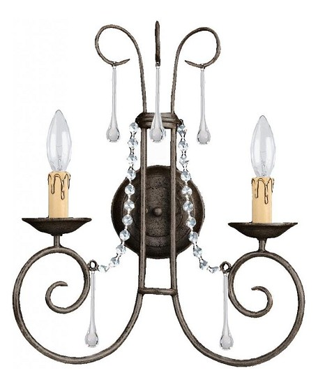 "SOHO Collection 2-Light 15"" Dark Rust Wall Sconce with Hand Polished Crystal 5202-DR-CL-MWP"