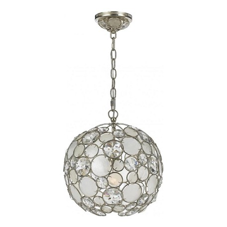 "Palla Collection 1-Light 13"" Antique Silver Mini Chandelier with Natural White Capiz Shell and Hand Cut Crystal 527-SA"