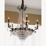Crystorama Five Light Historic Brass Hand Polished Glass Up Chandelier - 1486-HB-CL-MWP
