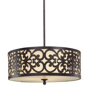 "Nanti Collection 3-Light 20"" Iron Oxide Pendant with Etched Vanilla Glass 1494-357"
