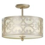 "Nanti Collection 3-Light 14"" Nanti Champagne Silver Semi-Flush with Etched Vanilla Glass 1498-252"