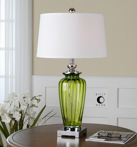 Green Glass And Nickel Amedeo Table Lamp with Round Shade