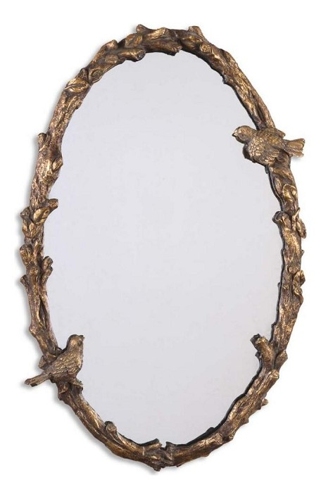 P Distressed, Antiqued Gold Leaf With A Gray Glaze. Paza Oval Mirror with Bird and Vine Detail Frame