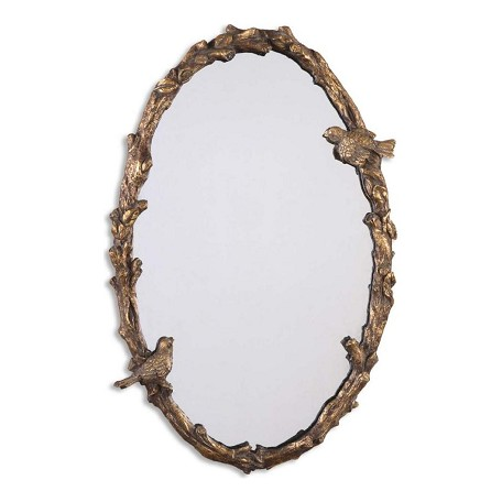Uttermost Paza Oval Mirror With Bird And Vine Detail Frame