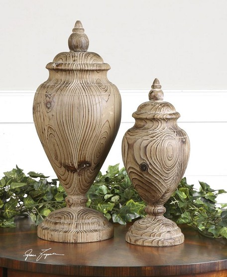 Natural Wood Brisco Finials Set of 2