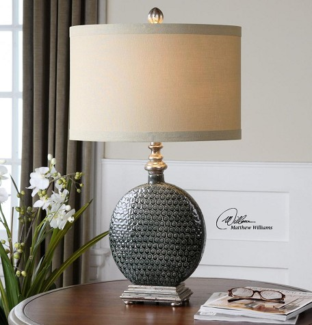 Gray Ceramic And Silver Salinger Table Lamp with Cylinder Shade