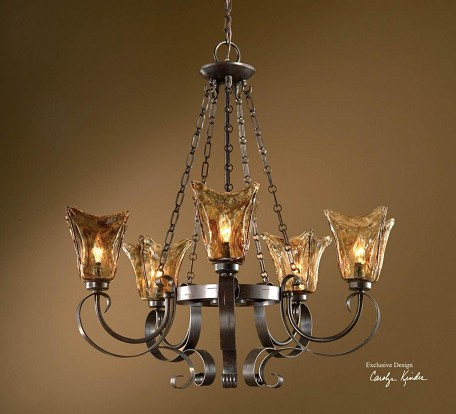 Oil Rubbed Bronze 5 Light Single Tier Chandelier with Handmade Glass Shades from the Vetraio Collection