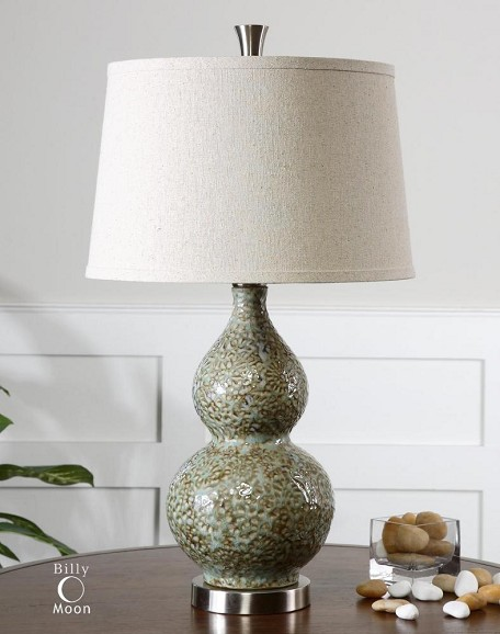 Pale Green Ivory With Brushed Aluminum Hatton 1 Light Table Lamp