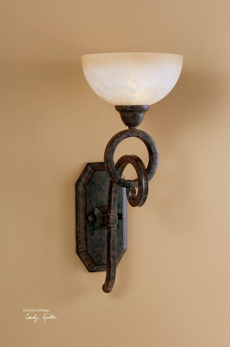 Distressed Chestnut Brown Single Light Wall Sconce from the Legato Collection