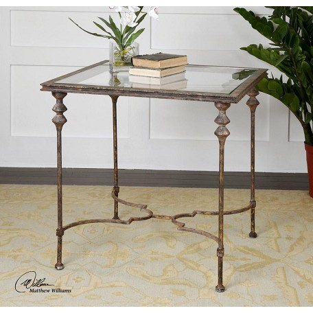 Gold Quillon 28in.W Iron Accent Table