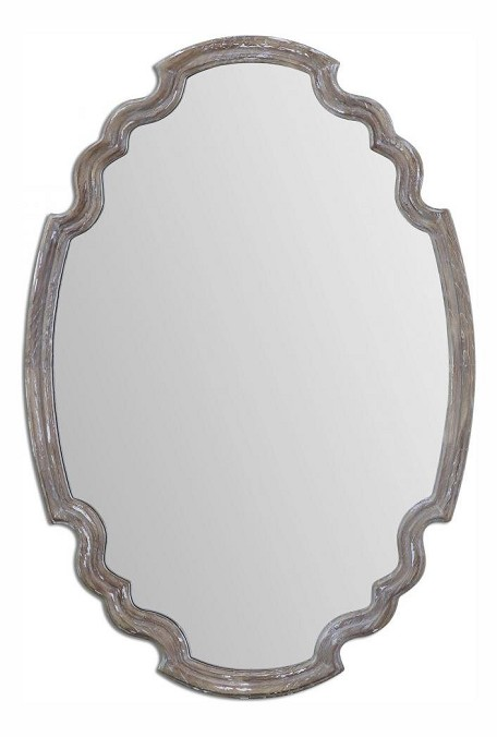 Wood Ludovica 24.125in.W x 34.875in.H Oval Wall Mirror