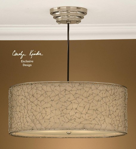 Nickel Plated, Ivory 3 Light Hanging Shade Pendant from the Brandon Collection