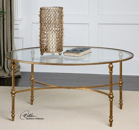 Antique Forged Gold Vitya Glass Top Metal Leg Coffee Table