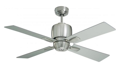 Brushed Steel Veloce 46in. 4 Blade Ceiling Fan - Blades and Light Kit Included