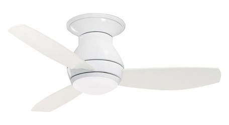 Appliance White Curva Sky 44in. 3 Blade Ceiling Fan - Blades and Light Kit Included