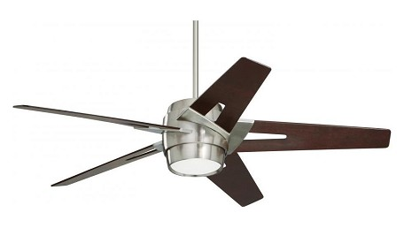 Brushed Steel Luxe Eco 54in. 5 Blade Ceiling Fan - Blades and Light Kit Included