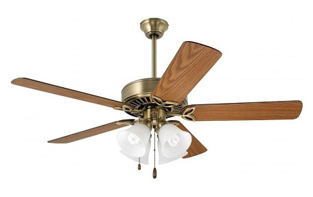Antique Brass Builder Plus 50in. 5 Blade Ceiling Fan - Blades and Light Kit Included