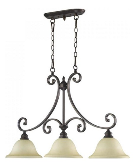 "Bryant Family 3-Light 36"" Oiled Bronze Island Light with Amber Scavo Glass 6554-3-86"