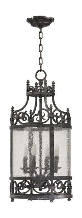 "Lorenco Family 4-Light 26"" Spanish Silver Twisted Iron Lantern with Water Glass 6793-4-50"
