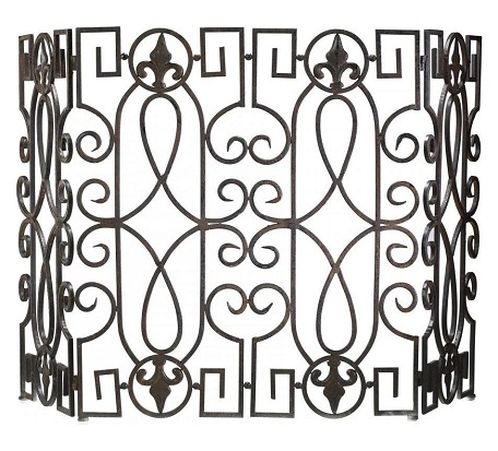 Rustic Iron 31in. Wrought Iron Fire Screen