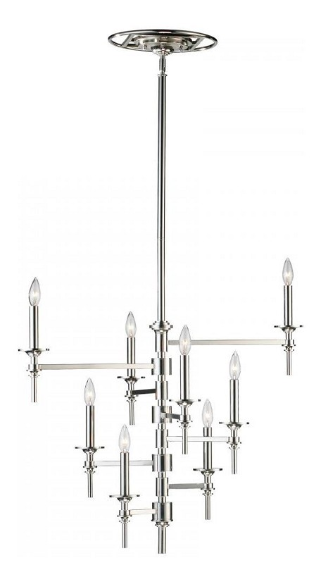 Polished Nickel 8 Light Up Lighting Chandelier from the Omega Collection