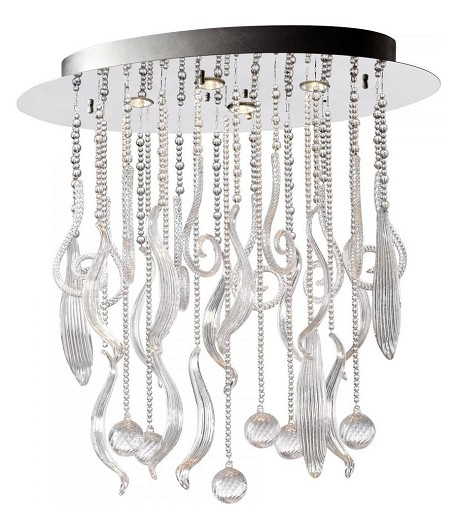 Chrome and Clear Mirabelle 4 Light Full Size Pendant