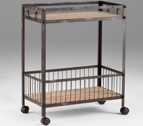 Raw Iron / Natural Wood 31.5in. Desmond Cart Wine Rack