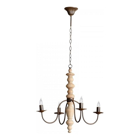 Rustic and White Oak Wilshire 4 Light 1 Tier Chandelier