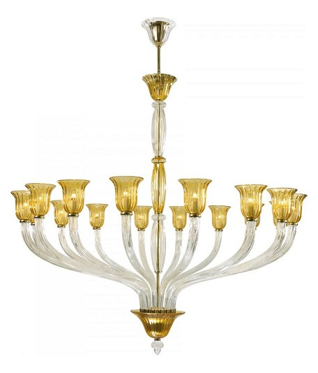 Clear 60in. Sixteen Lamp Chandelier from the Vetrai Collection