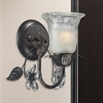 "Iced Glass Collection 1-Light 5"" Deep Rust Wall Sconce with Crystal Flowers 16020/1"