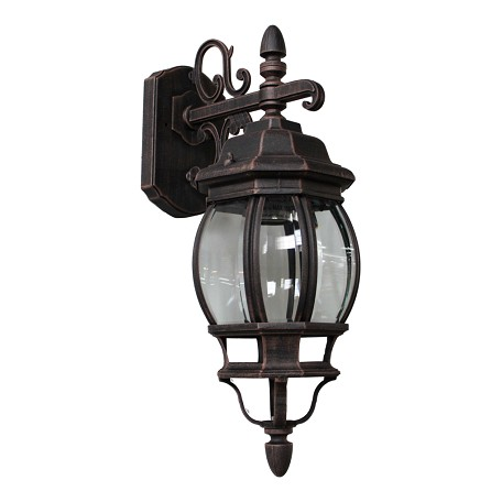 One Light Rust Clear Glass Wall Lantern