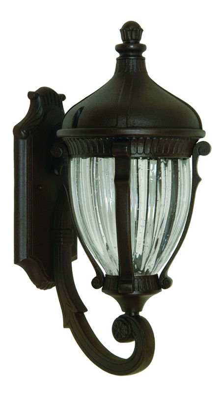 Four Light Optic Clear Glass Oil Bronze Wall Lantern