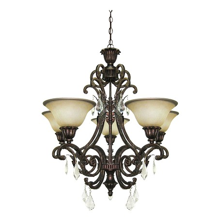 Five Light Bronze Carmelized Glass Up Chandelier