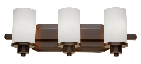 Three Light Oiled Bronze Opal White Glass Vanity
