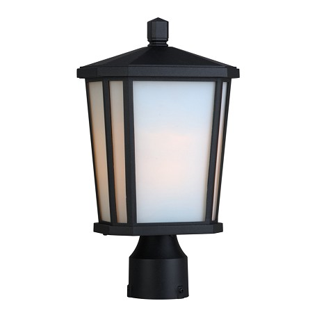 One Light Black Interior-White, Outer-Etched Glass Post Light