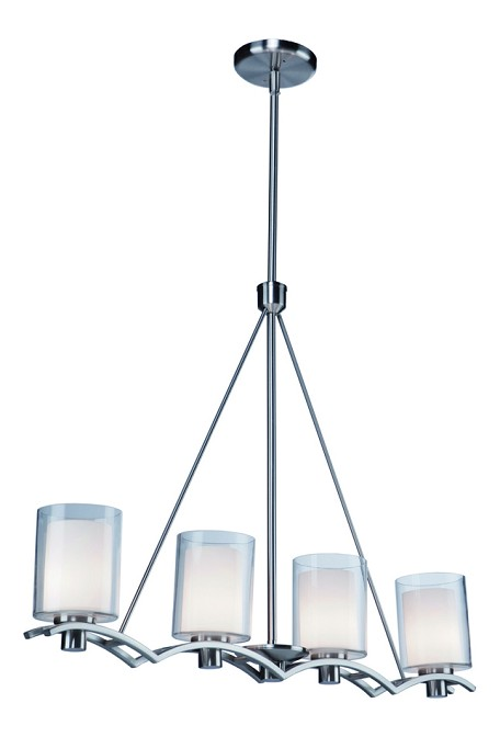 Four Light Polished Nickel Interior-Frosted, Outer-Clear Glass Island