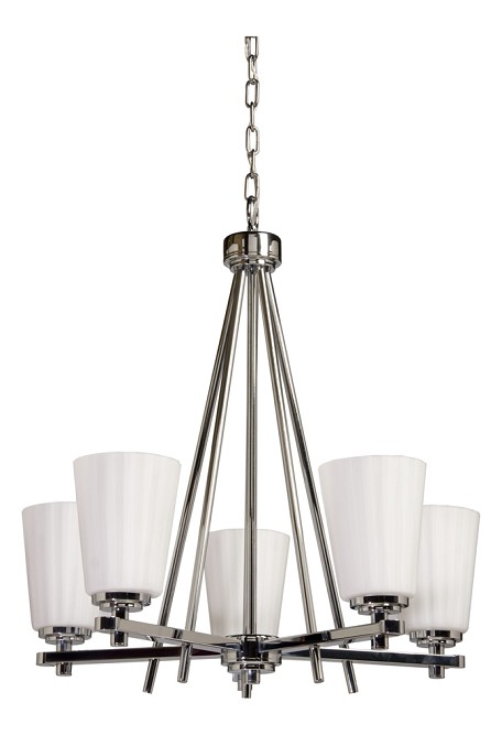 Five Light Chrome Satin Acid Frosted Reeded Glass Up Chandelier