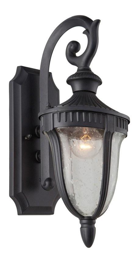 One Light Seeded Clear Glass Graphite Wall Lantern
