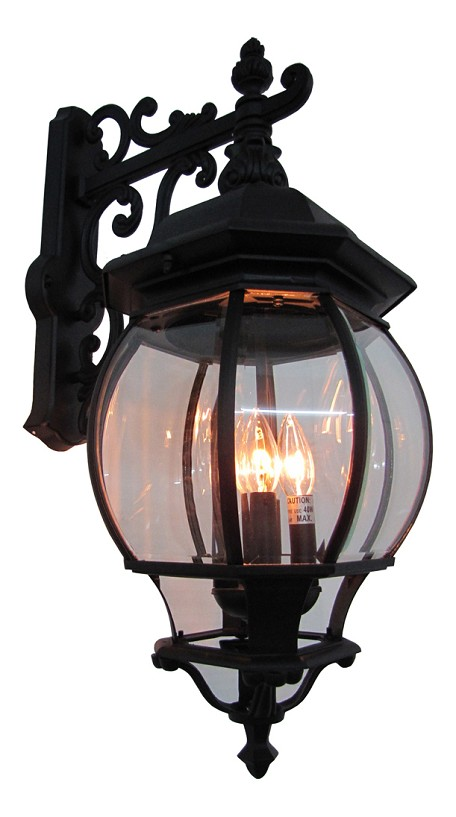 Four Light Black Clear Glass Wall Lantern