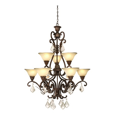 Nine Light Bronze Carmelized Glass Up Chandelier