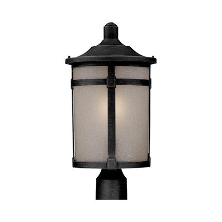 One Light Black White Linen Glass Post Light
