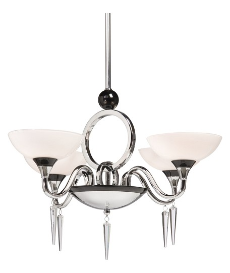 Four Light Chrome White Shapely Glass Up Chandelier