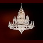 "Illusion Collection 60-Light 51"" Silver Leaf LED Crystal Chandelier with Glass Candles 170-012"