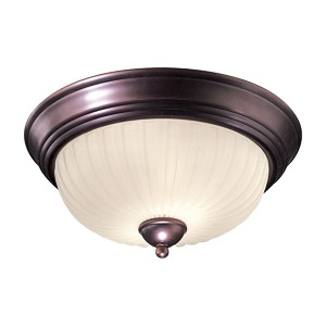 "1730 Series Collection 2-Light 13"" Lathan Bronze Flush with Etched Glass-Box Pleat 1730-167"